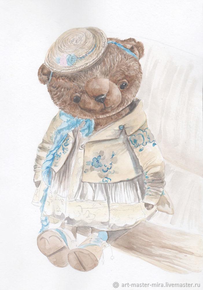 Как нарисовать мишку Тедди акварелью, фото № 8