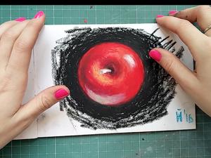 Видеоурок: рисуем яблоко масляной пастелью. Ярмарка Мастеров - ручная работа, handmade.