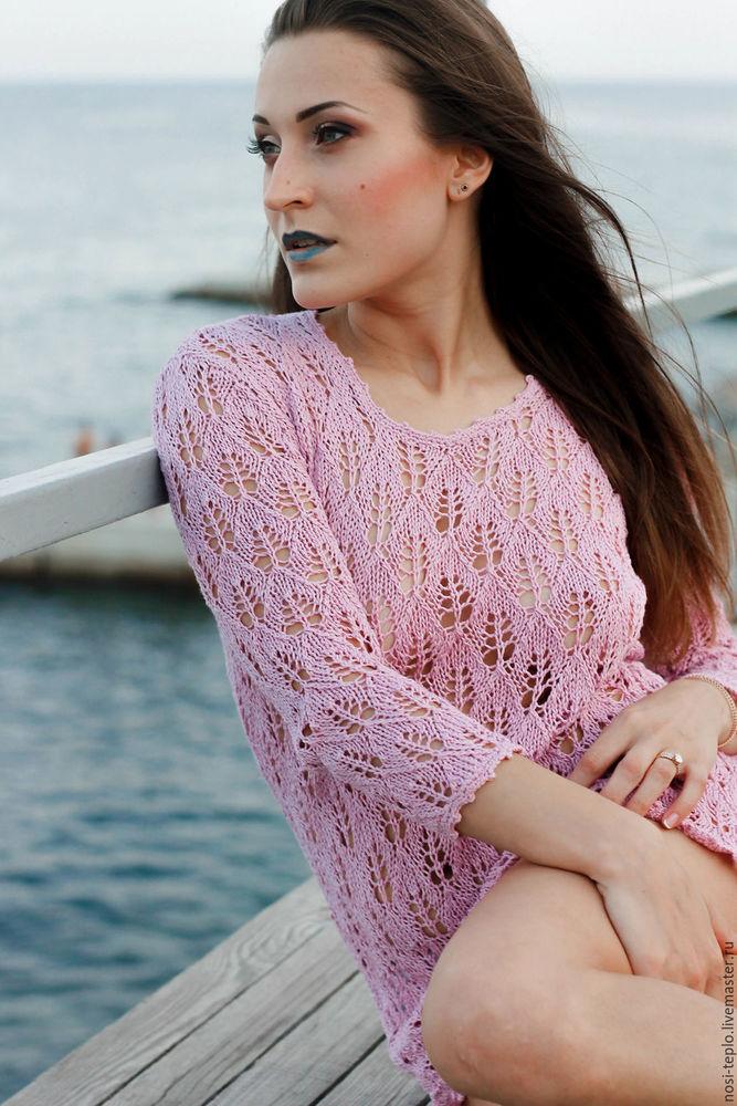 ажурная туника, ажурный пуловер, вязаный пуловер, пуловер вязаный