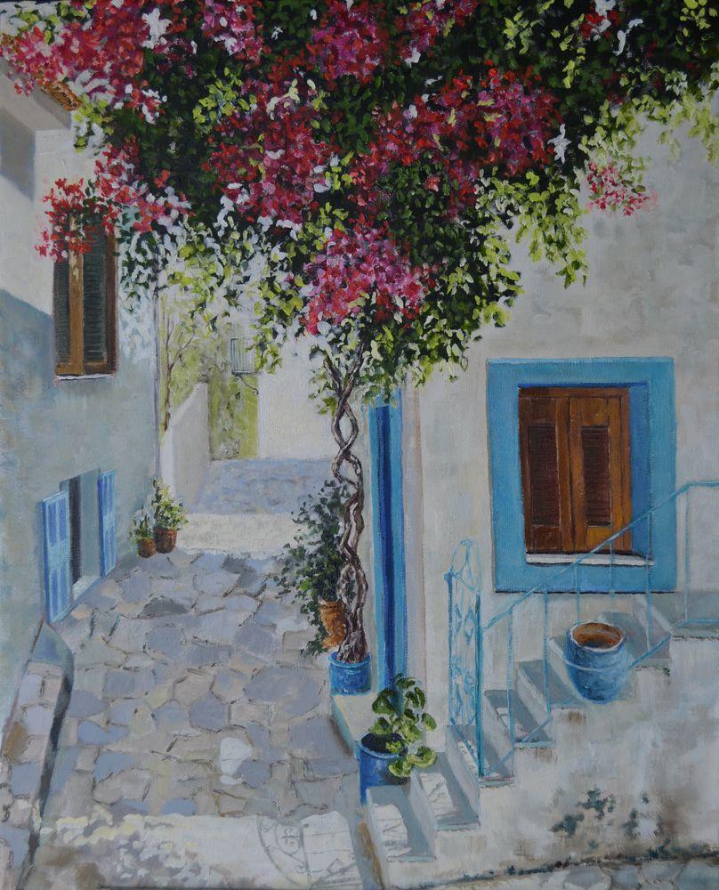 анна кшановская-орлова, средиземноморье, средиземное море, городской пейзаж, живопись маслом, масляная живопись, средиземноморское, картина, картину, цветы, купить картину, греция, греческий, город, город у моря, окна, ставни, крыльцо, отдых, отпуск