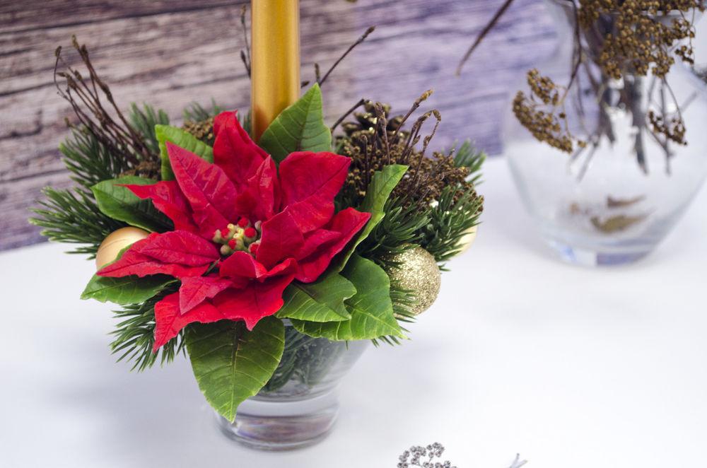 цветы из глины, композиция с пуансетией, вебинар