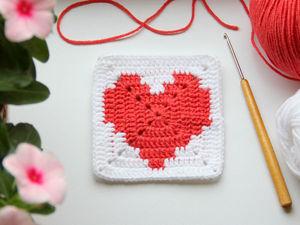 Вяжем крючком мотив крючком «Сердце в квадрате». Ярмарка Мастеров - ручная работа, handmade.