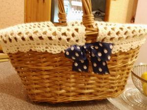 Съемная накидка-салфетка на корзину. Ярмарка Мастеров - ручная работа, handmade.