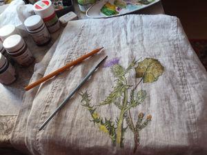 Роспись на льне. Ярмарка Мастеров - ручная работа, handmade.