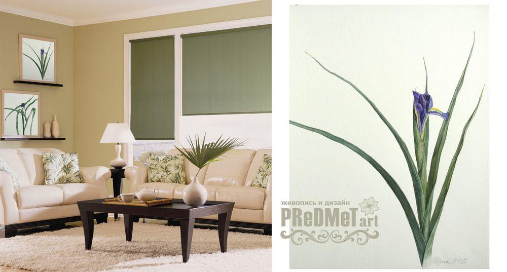 ирис, геллеборус, картина с цветами, картина в подарок, дизайн интерьера, зеленый