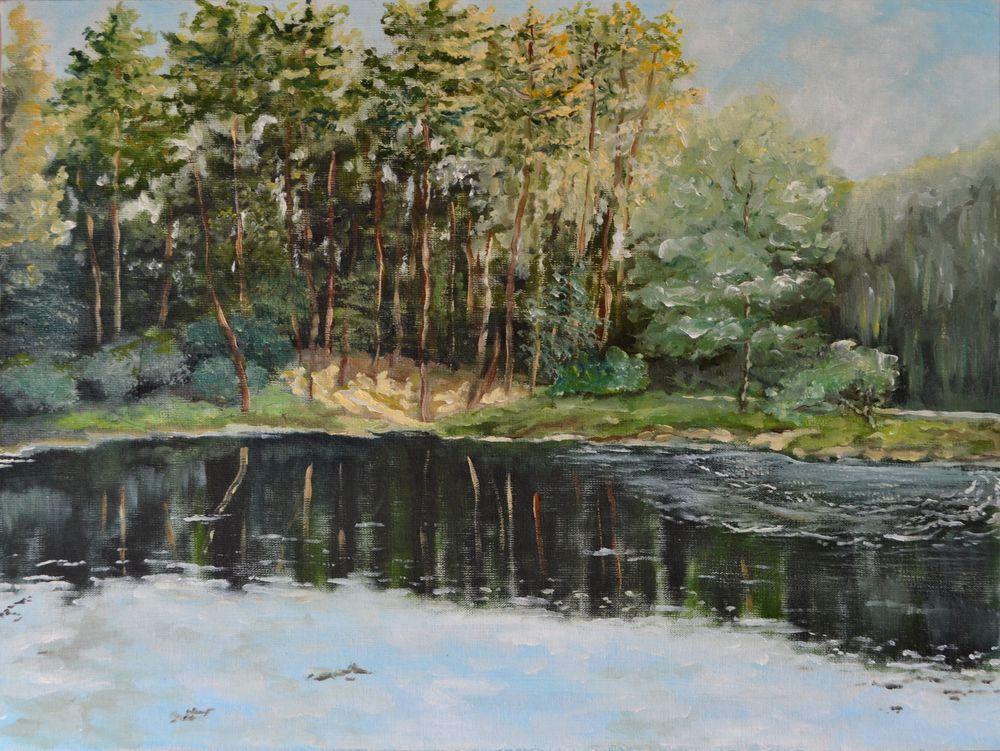 анна кшановская-орлова, картину, масляная живопись, озеро, вода, лес, сосны, художник, пейзаж маслом, отдых на озере