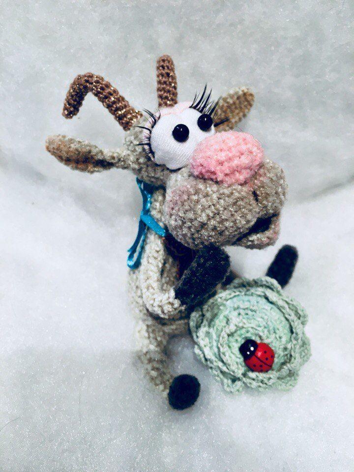 коза, козочка, вязаная игрушка, авторская игрушка, возможен повтор, подарок, интерьерная игрушка