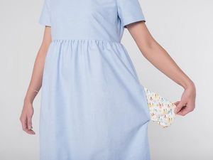 YOKU в деталях: платье с завышенной талией из бледно-голубого хлопка. Ярмарка Мастеров - ручная работа, handmade.