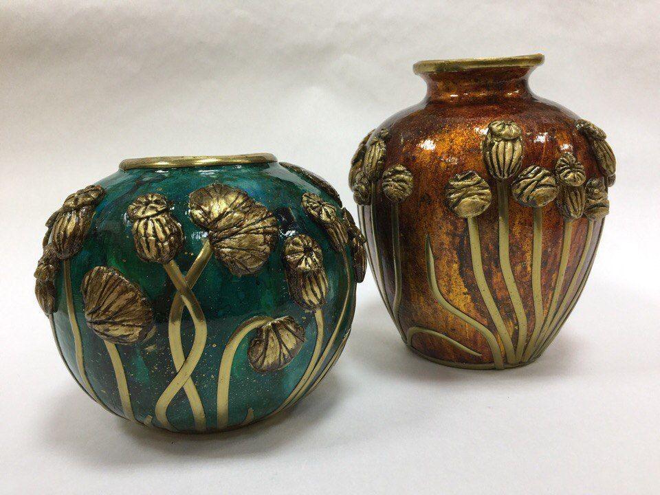 керамическая ваза, полимерная глина