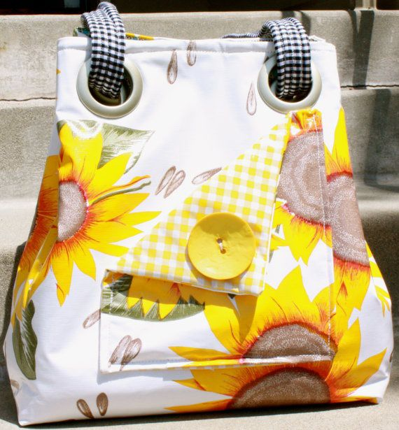 Oilcloth Multifunction Bag/Purse/Shopper  Sunflowers by UpsyMaisy, $50.00