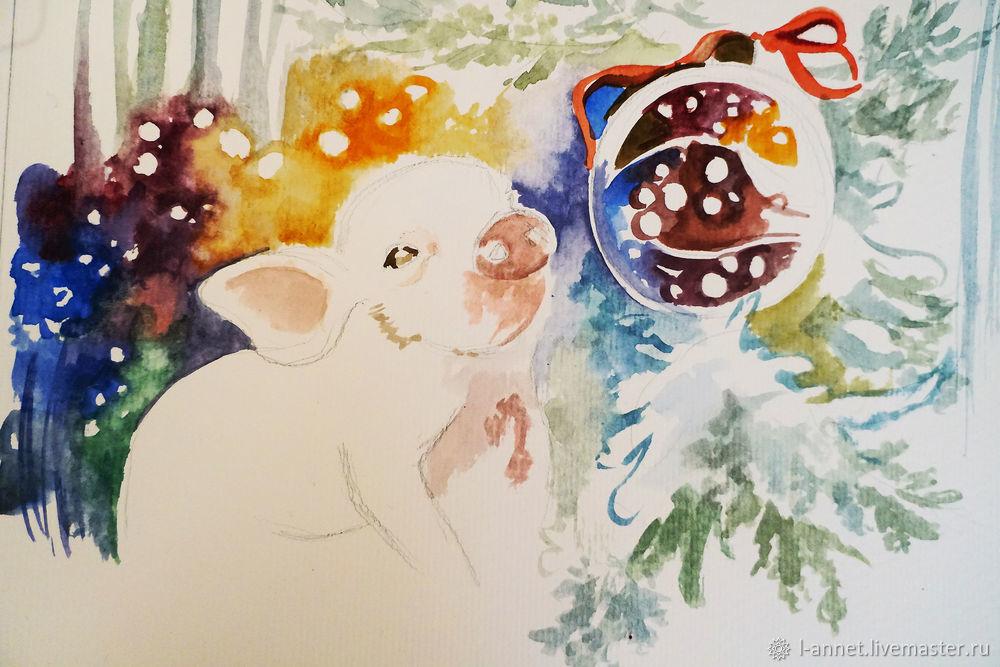 watercolor lesson, pig picture