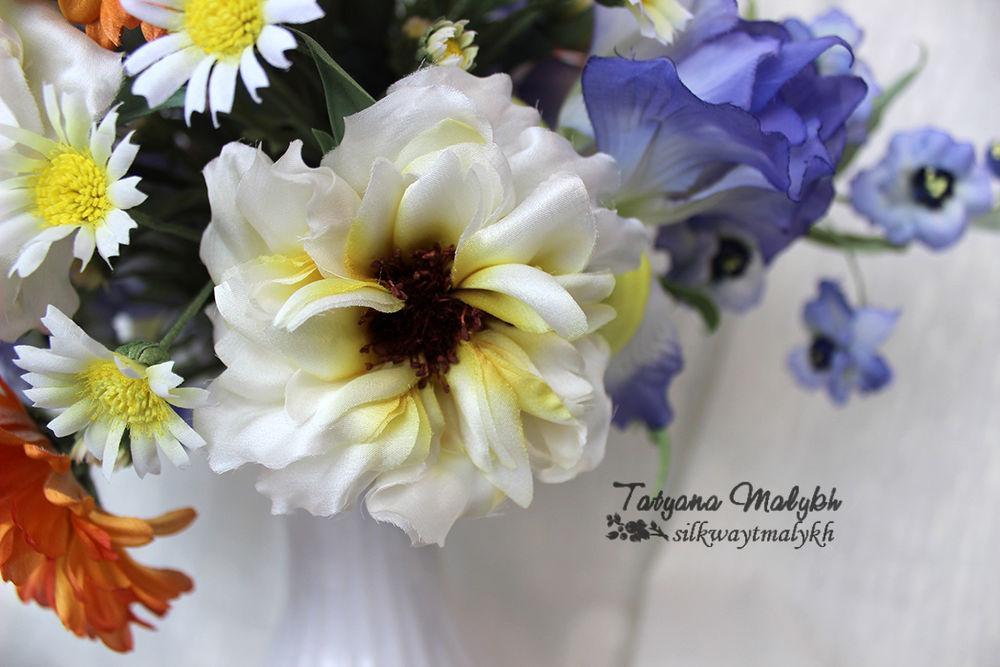 обучение цветам, цветы из ткани