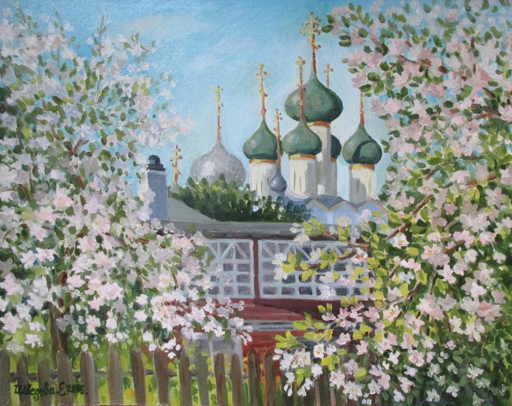 авторская картина, весна, храм, розовый цвет, картина купить, пейзаж