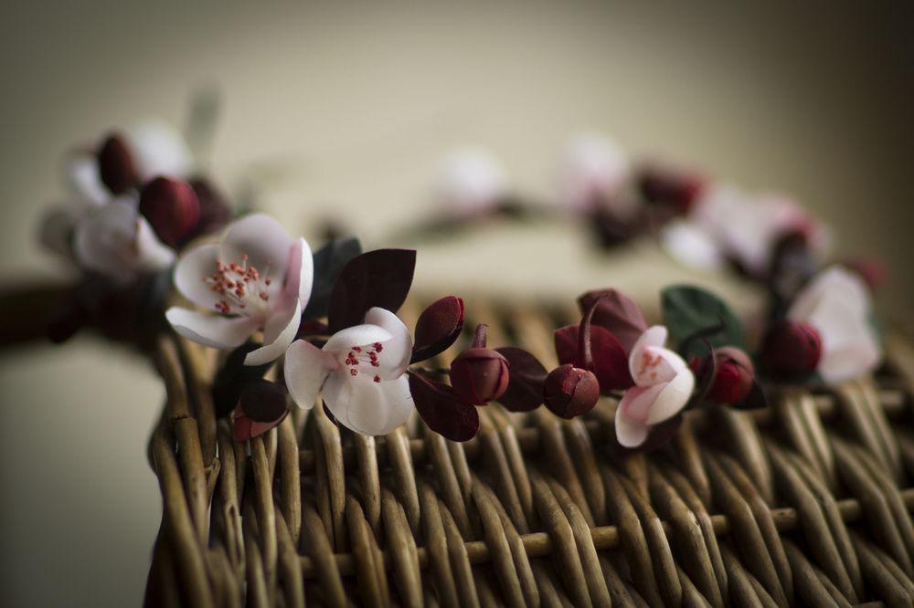 венок на голову, цветы из ткани