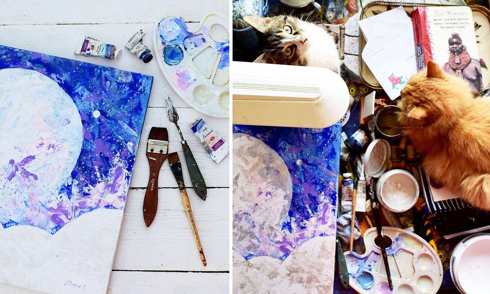процесс работы, кошка, картина маслом, картина