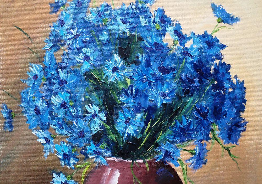 картина маслом васильки, цветы, картина для девушки, картина букет