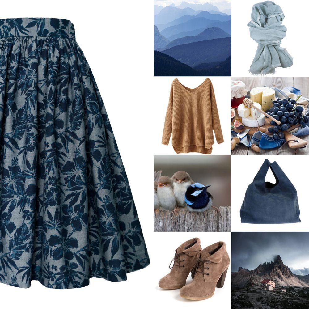 джинс, синий, цветы, юбка