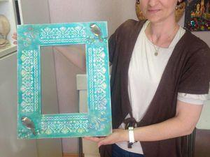 Рама с 3Д- декупажем и объемным декором   Ярмарка Мастеров - ручная работа, handmade