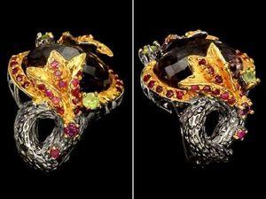 Скидка 20% Шикарное статусное кольцо с аметрином, рубинами и изумрудами. Ярмарка Мастеров - ручная работа, handmade.
