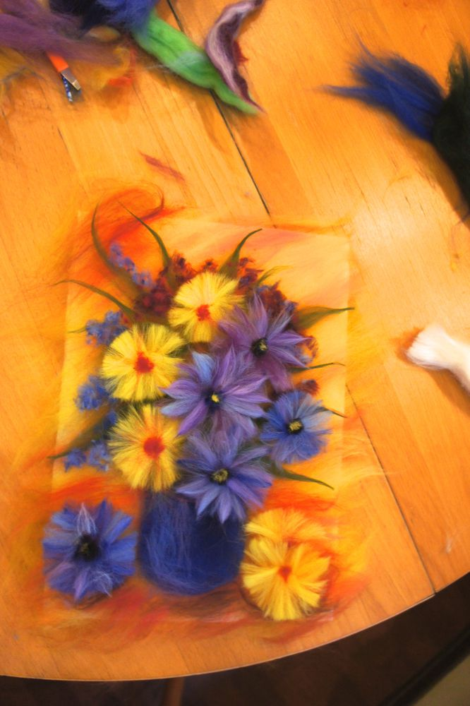 живопись своими руками, цветы из шерсти, картина из шерсти мк