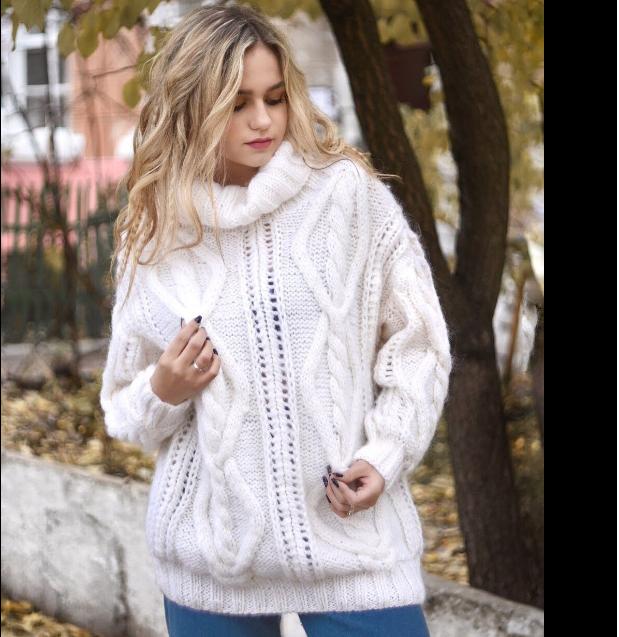 вязаный свитер, белый, теплый свитер, keslove, брендовый свитер