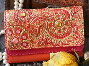 Новый декор для старого кошелька. Точечная роспись «Цветочный переполох». Ярмарка Мастеров - ручная работа, handmade.
