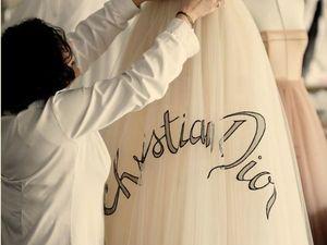 Процесс создания уникального платья  «Веер»  с вышитой подписью Кристиана Диор. Ярмарка Мастеров - ручная работа, handmade.