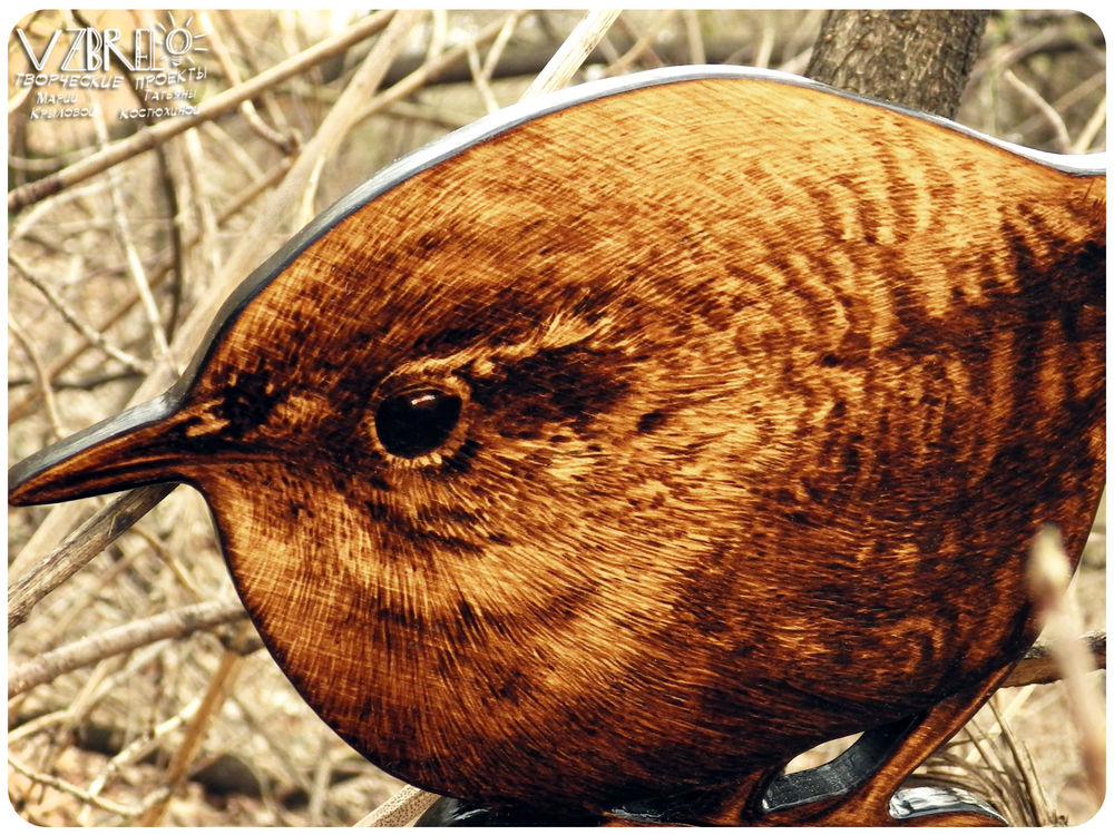 птицы, крапивник, картина, из дерева, новинки магазина