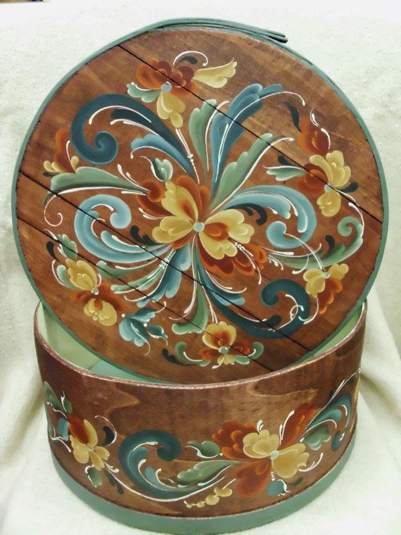 Chestnut Stained Cheese Box with Norwegian Rosemaling on Etsy, $89.00