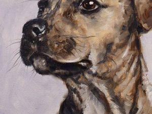 День 88. Картина маслом  «Пёс». Ярмарка Мастеров - ручная работа, handmade.