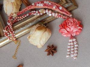 Новинка! Жемчужный сотуар, с вышивкой и шикарной розой. Видео обзор! | Ярмарка Мастеров - ручная работа, handmade