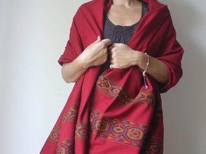 Скидка 15% на красные палантины с вышивкой. Ярмарка Мастеров - ручная работа, handmade.