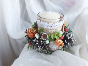 Video Tutorial: a Christmas Candle Holder in Eco-Style. Livemaster - handmade
