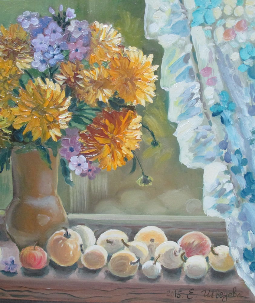 картина маслом, картина цветы, картина с цветами, яблоки, живопись маслом, картина для интерьера, купить в москве, натюрморт маслом, натюрморт с цветами