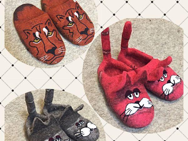 Тапочки коты | Ярмарка Мастеров - ручная работа, handmade