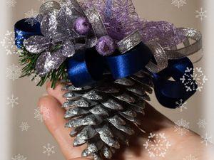 Новогоднее украшение «Шишка в серебре». Ярмарка Мастеров - ручная работа, handmade.