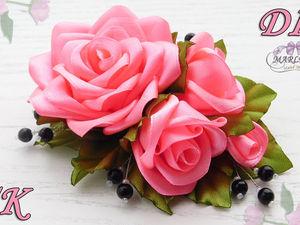 Создаем нарядную розу из лент. Ярмарка Мастеров - ручная работа, handmade.