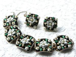 Видео. Комплект Цветочный, Alice Jewelry Co., США, 60ые годы. Ярмарка Мастеров - ручная работа, handmade.