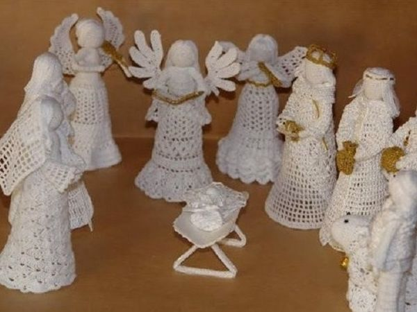 Рождество и нежные трогательные ангелы из пряжи | Ярмарка Мастеров - ручная работа, handmade