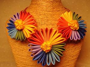 Мастерим яркое цветочное колье для девочки. Ярмарка Мастеров - ручная работа, handmade.