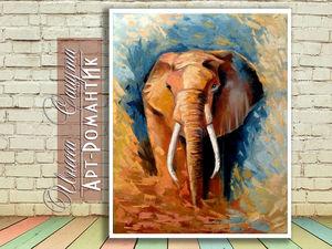 """Картина маслом """"Мудрый слон"""". Ярмарка Мастеров - ручная работа, handmade."""