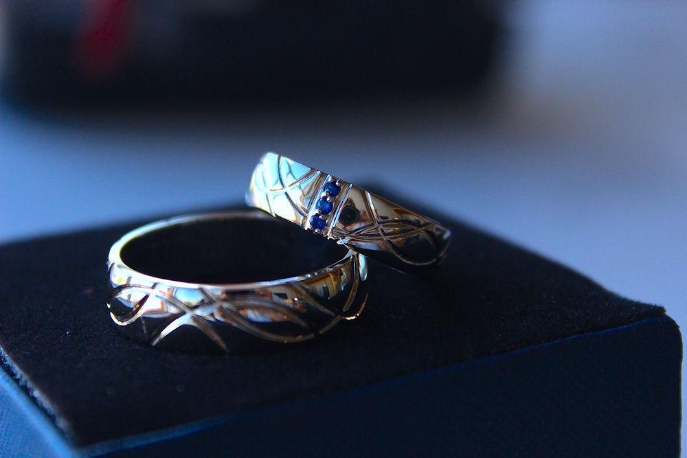 венчальные кольца, натуральный сапфир