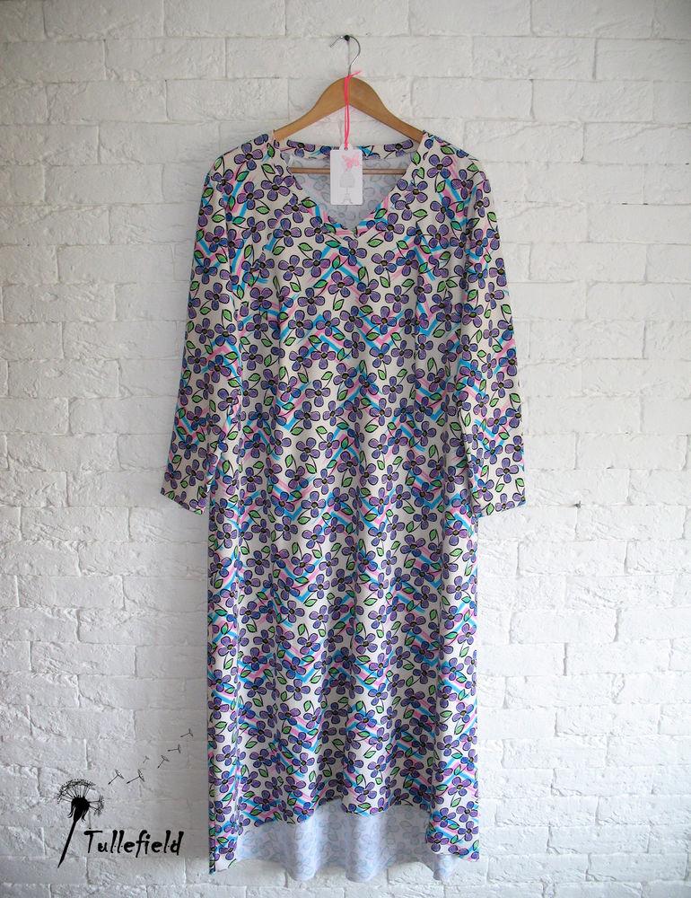 длинная ночная рубашка, трикотажное полотно