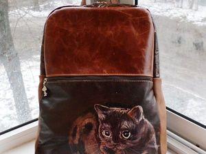 Акция!Кожаный рюкзак с росписью с хорошей скидкой!!!. Ярмарка Мастеров - ручная работа, handmade.