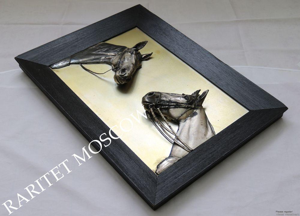 Картина панно конь лошадь серебрение Германия 7, фото № 5
