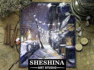 Видеоурок: рисуем зимнюю улицу с новогодним освещением сухой пастелью. Ярмарка Мастеров - ручная работа, handmade.