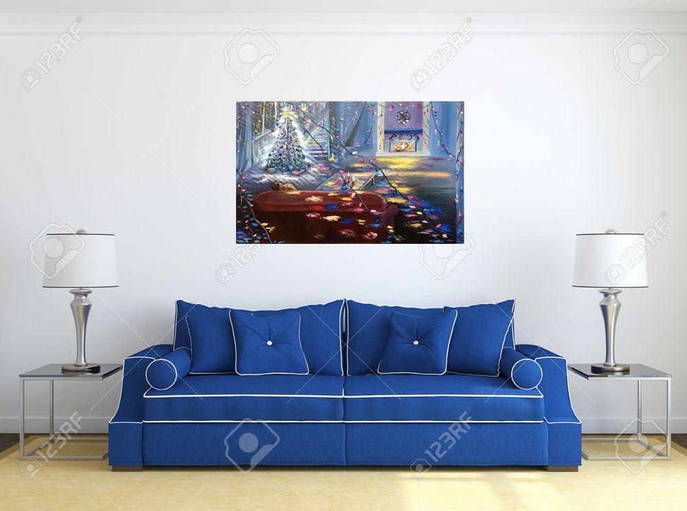 картина маслом, картина синий интерьер