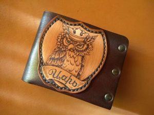 Кожаный кошелёк  «Сова»  по индивидуальному заказу. Ярмарка Мастеров - ручная работа, handmade.