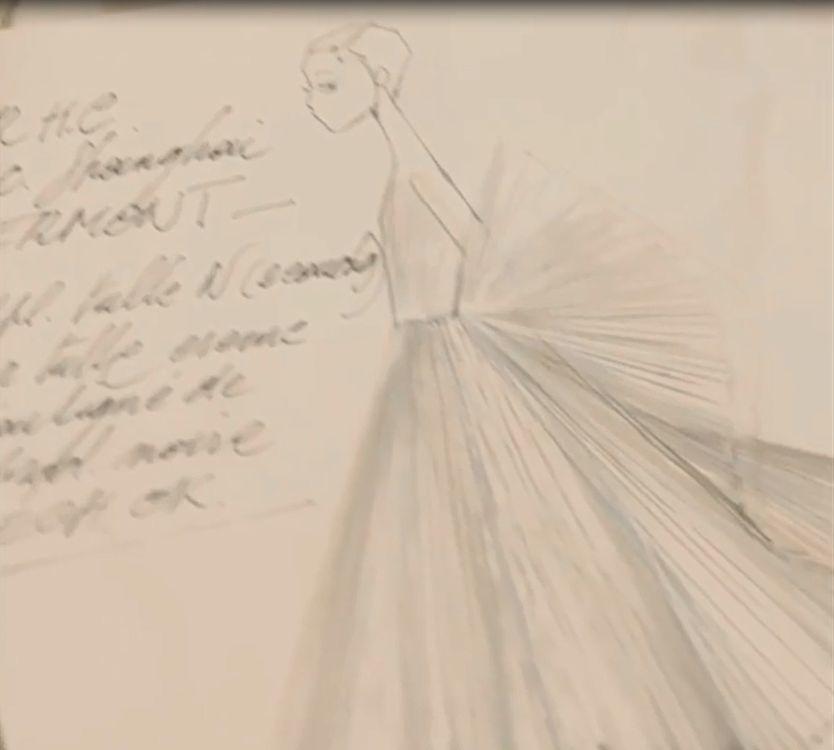 Процесс создания уникального платья  «Веер»  с вышитой подписью Кристиана Диор