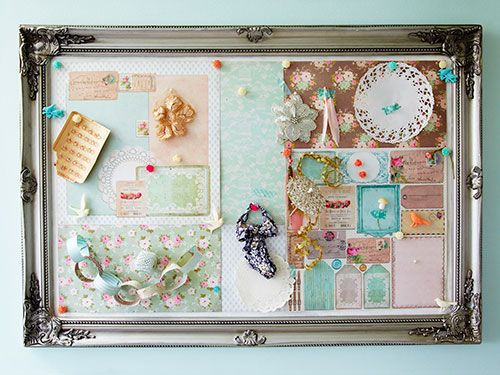 Make a pin board by cutting down a roll of cork matting to the size of a thrifted frame. Remove the glass and spray-glue the mat to the back of the frame. Cover the mat with fabric, if you like, and reassemble.
